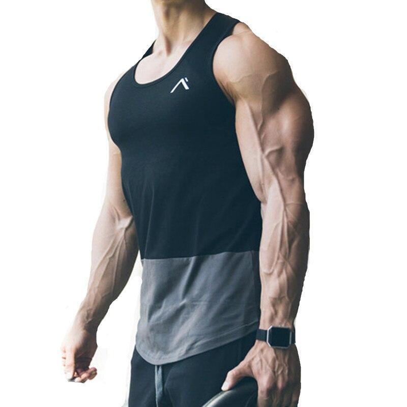 Summer Tank Tops Patchwork Men Casual Tanks Fitness TEES Sleeveless Bodybuilding Clothing Crossfit Tanktop Active Undershirt