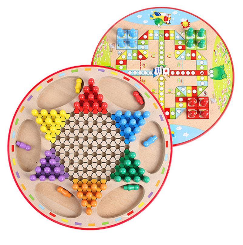 Bébé Enfants En Bois Puzzle Jouets D'échecs Checkers Portable Amphibie Vol D'échecs Cadeau pour Enfants