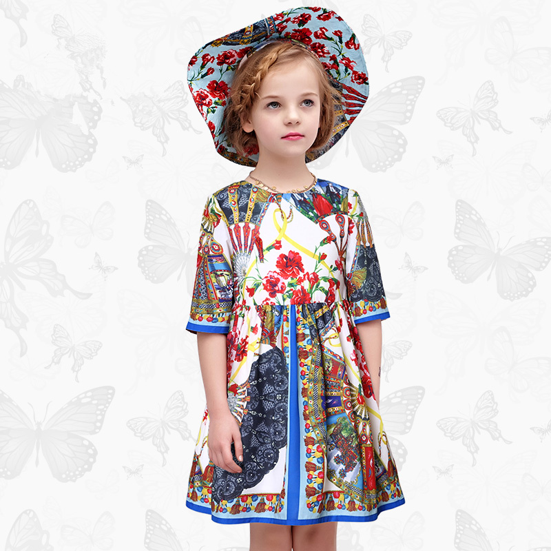 Toddler Girls Dresses Children Clothing 2017 Brand Princess Dress for Girls Clothes Fish Print Kids Beading Dress 1 40