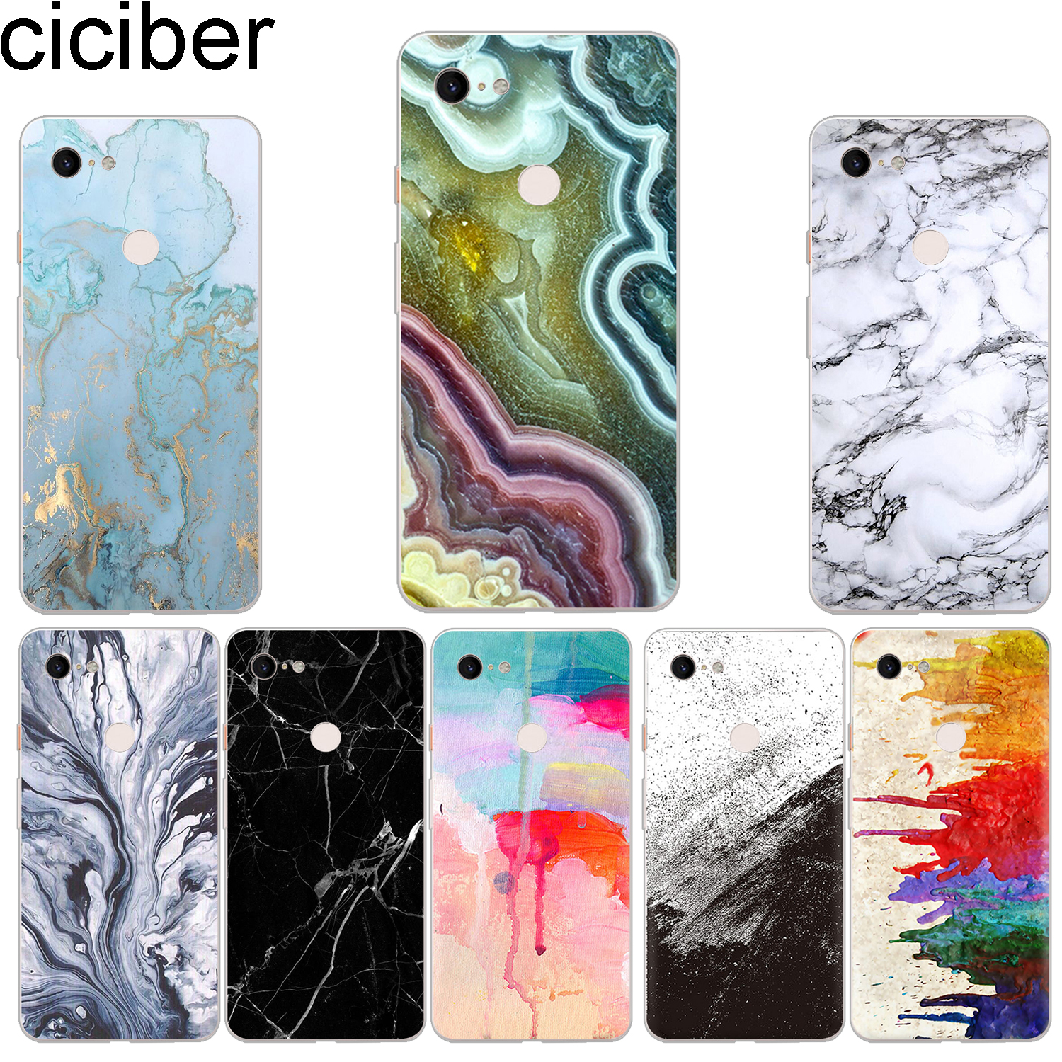 Ciciber New Fashion Phone Cases For Google Pixel 3 2 XL Case Soft TPU Back Cover For Pixel 3XL 2XL Marble Funda Capa Coque