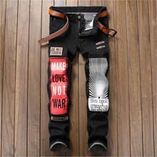 Newsosoo Personality Badge Patchwork Jeans Men Ripped Jeans Black Letter Biker Jeans Denim Straight Slim Fit Casual Pants 17007#(China)