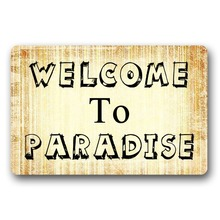 Entrance Floor Mat Non-slip Welcome To Paradise Door Outdoor Indoor Rubber Non-woven Fabric Top 18 x 30 Inch