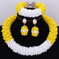 Fashion Bold Bridal Jewelry Sets Yellow and White African Beads Jewelry Set Costume Jewellery Choker Antique Set Dubai