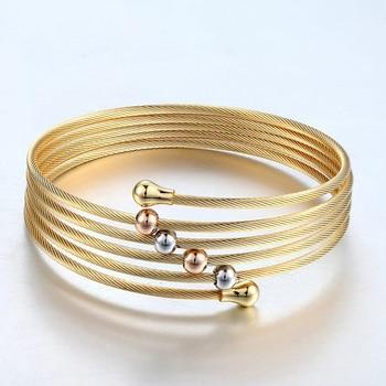 New 2017 Gold Colour Twist Wire Mesh Hand Bangle Multilayer Charm Bracelets Pulseiras Fashion Jewelry For Women Bijoux