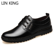 LIN KING Breathable Spring Autumn Men Casual Shoes Fashion Brand Lace Up Leather Shoes for Male Comfortable Light Man Flat Shoes men s shoes spring autumn mens fashion leisure brand frosted canvas men shoes 2017 flat casual shoes man 38 44 free shipping749