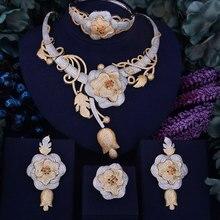 GODKI Luxury Flower Boom Phụ Nữ Nigeria Bridal Naija Cô Dâu Cubic Zirconia Necklace Dubai 4 CÁI Set Trang Sức Trang Sức Nghiện