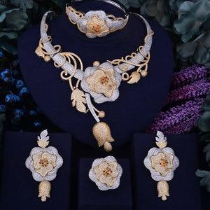 Image 1 - GODKI Luxury Flower Boom Women Nigerian Bridal Naija Bride Cubic Zirconia Necklace Dubai 4PCS Jewelry Set Jewellery Addiction