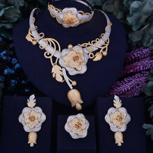 GODKI luksusowe kwiat Boom kobiety nigeryjczyk dla nowożeńców Naija panna młoda Cubic naszyjnik z cyrkonią Dubai zestaw biżuterii 4 sztuki uzależnienie od biżuterii