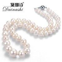 [Dainahsi] тонкая натуральная жемчужина neckalce для Для женщин высокое качество ленты реальный естественный пресноводный жемчуг для свадьбы в под