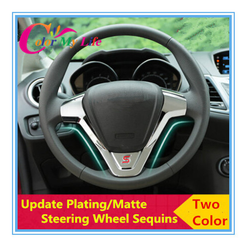 Hot ABS Steering Wheel Trim Sequins Stickers Ford ecosport 2013 2014 New Fiesta 2012 Auto Accessories - Pozel Car Shopping Maill Store store