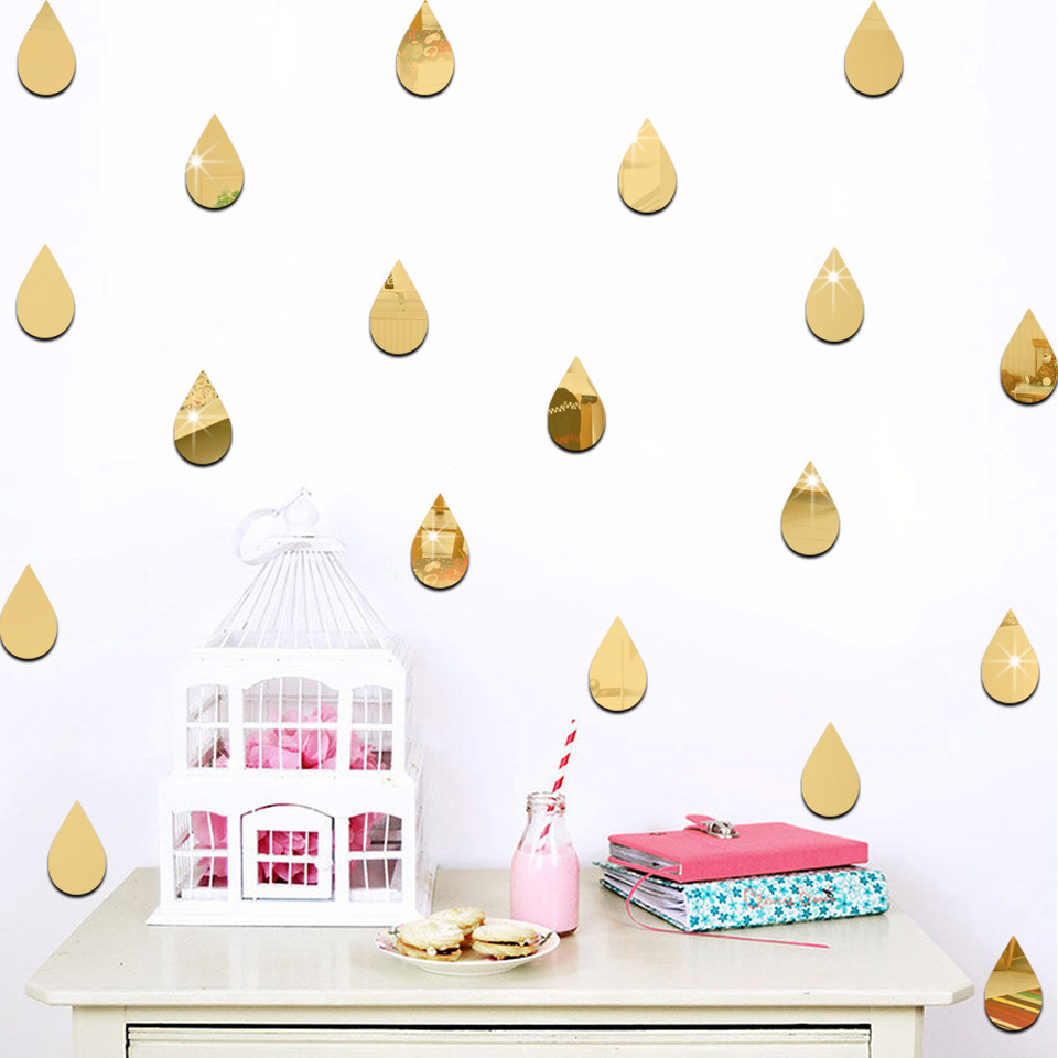 US $3 49 OFF 22 Pcs Of Set Sticker Raindrop Shape Mirror Wall Sticker For Kids Room Home Decor Nursery Wall Decal Children Baby House Mural Wall