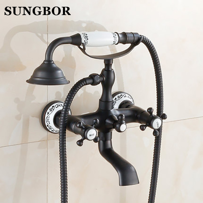 Здесь можно купить  Black brone bath faucet shower mixer porcelain shower faucet bathroom telephone bath faucet with hand shower bathroom shower tap  Строительство и Недвижимость