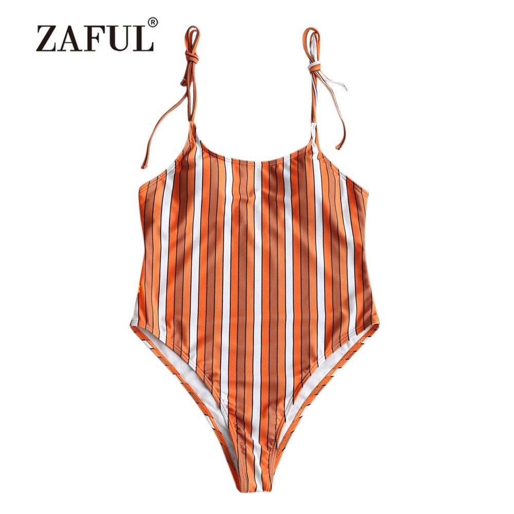 ZAFUL New Women Onepiece Swimsuit Stripe High Leg One Piece Swimsuit women Swimwear Spaghetti Straps Padded bathing Suit Beacher