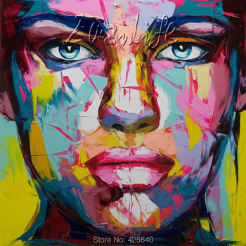 Palette knife painting portrait Palette knife Face Oil painting Impasto figure on canvas Hand painted Francoise Nielly 13-8