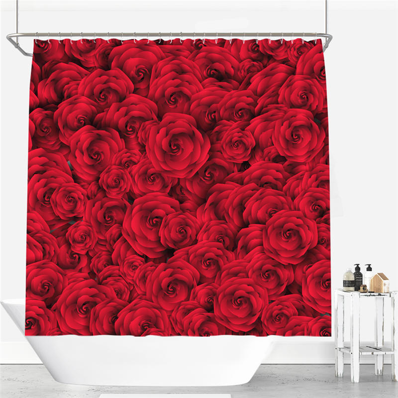 Beautiful Rose Picture Shower Curtain Polyester Fabric Bathroom Curtain Flexible Pull-style 12 Hooks Waterproof Shower Curtain