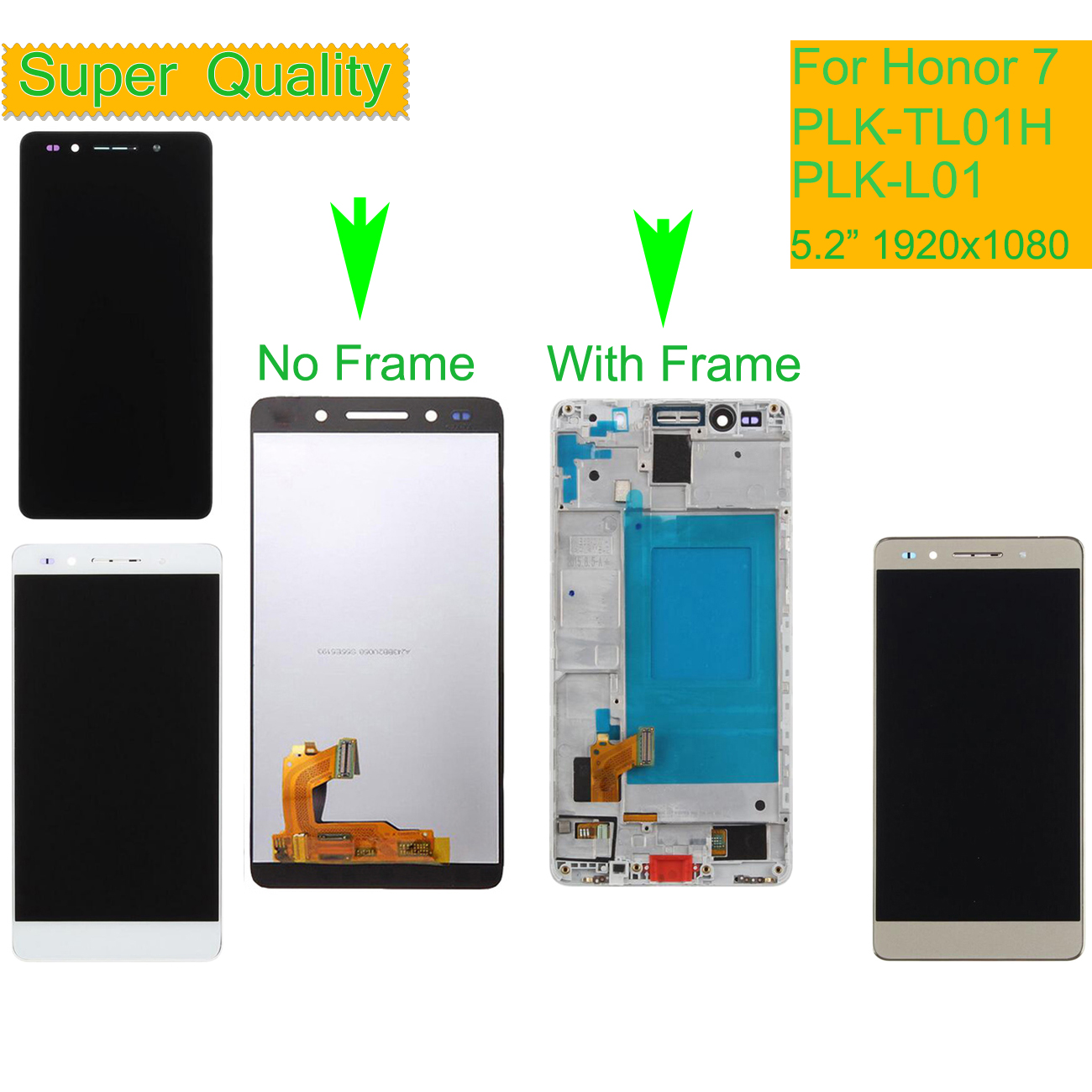 Gold Color : White LCD Screen Mobile Phone for Huawei Honor 7 and Digitizer Full Assembly with Frame