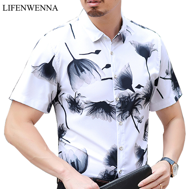 2019 New Summer Men's Shirt Fashion Flower Print Slim Fit Short Sleeve Shirt Mens Hawaii Plus Size Mens Casual Shirts M-7XL