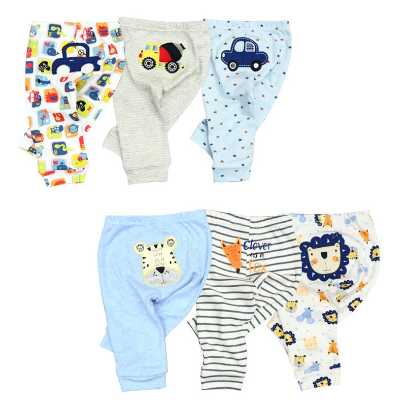 Wholesale 3/6pcs/Lot Baby Pants  Cotton Autumn Leggings For Boys Girls Mid Full Length Baby Trousers(China)