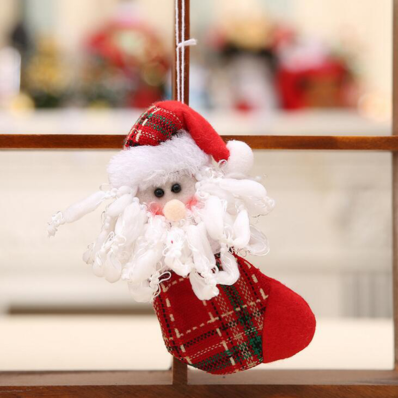 3pcs/lot Christmas Santa Claus Snowman Reindeer Stocking Pendants Christmas Tree Hanging Ornaments New Year Gift Toys SD332