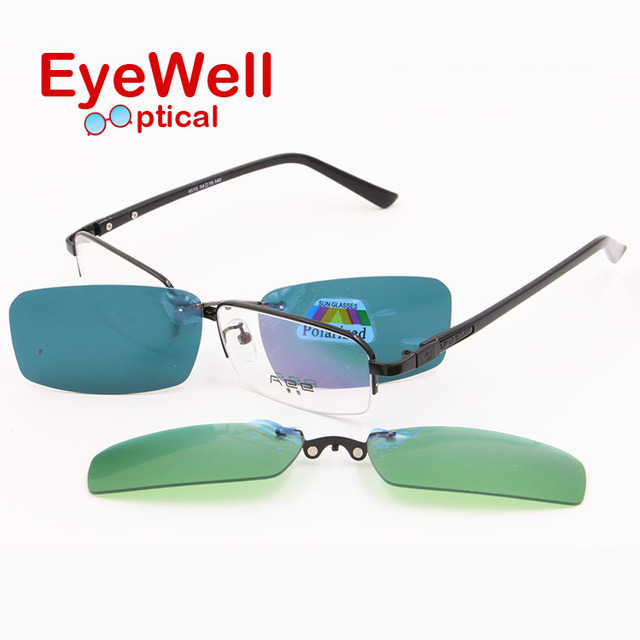 hot sale classic half rim optical frame with clip on sunglasses and night vision for driving new arrival free shipping 6015