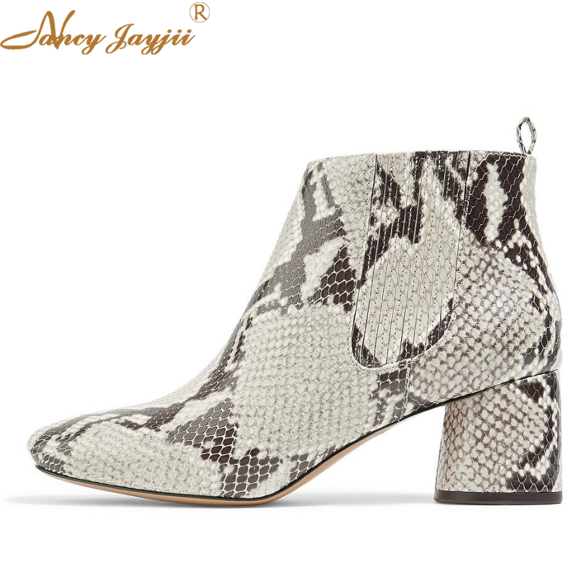 debe21f6e2c8 Detail Feedback Questions about Chelsea Ankle Boots For Women Shoes Snake  Print Leather 60mm Chunky Heels High Dress Party Autumn Winter 2019 Mature  Fashion ...