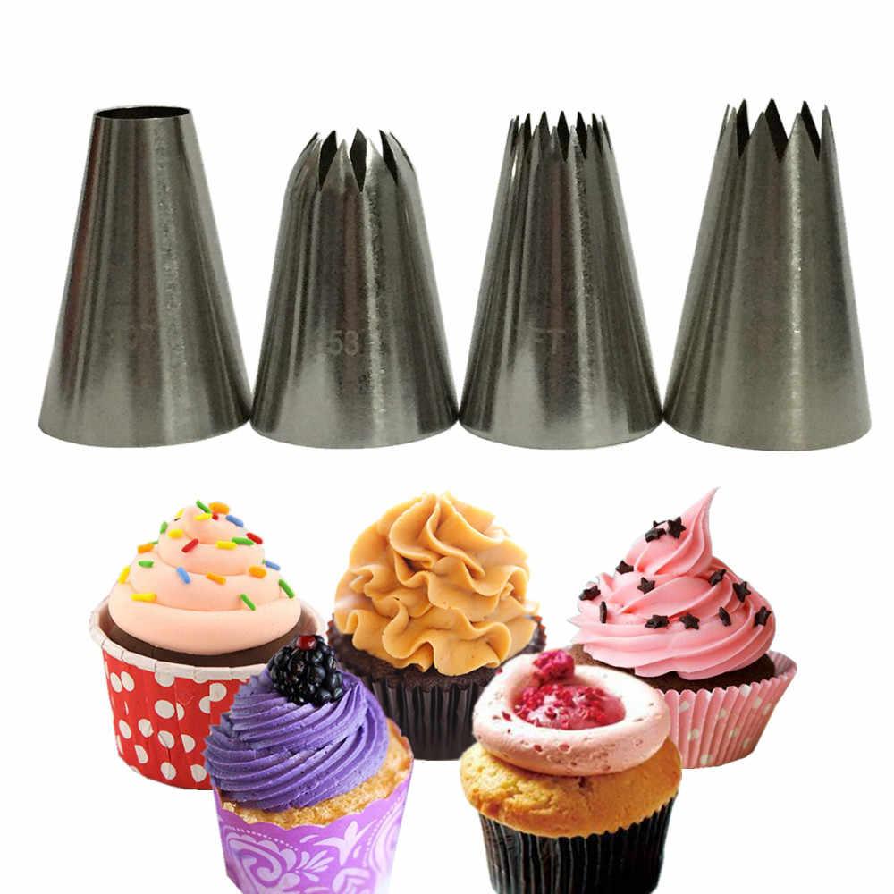 طقم تزيين الكعك مكون من قطعة واحدة لتزيين عجينة الكعك من الفولاذ المقاوم للصدأ وفوهات كب كيك 4 أنماط لاختيارك