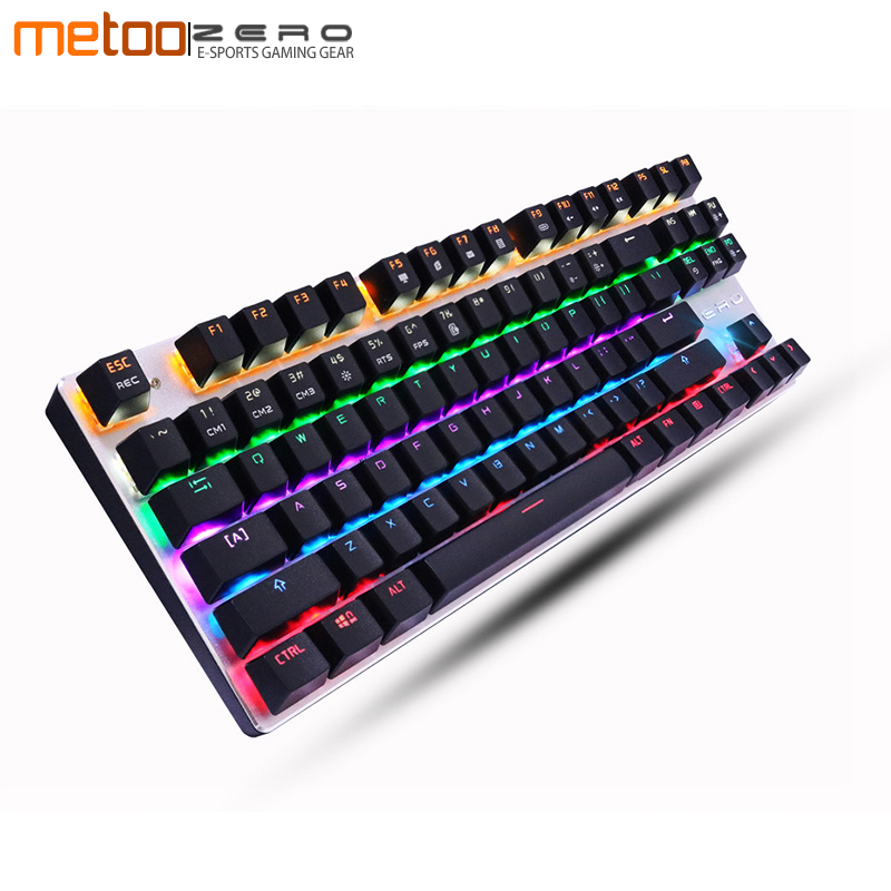 Metoo Mechanical Keyboard 87/104 Anti-ghosting Luminous Blue Black Switch LED Backlit wired Gaming Keyboard Russian Spanish metoo mechanical keyboard 87 104 anti ghosting luminous blue black switch led backlit wired gaming keyboard russian stickers