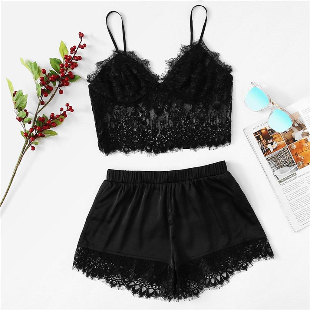 women's sleepwear sexy satin pajama set Womens Sexy Plus Size Sling Sleepwear Lingerie Lace Nightwear Underwear Set #XTN