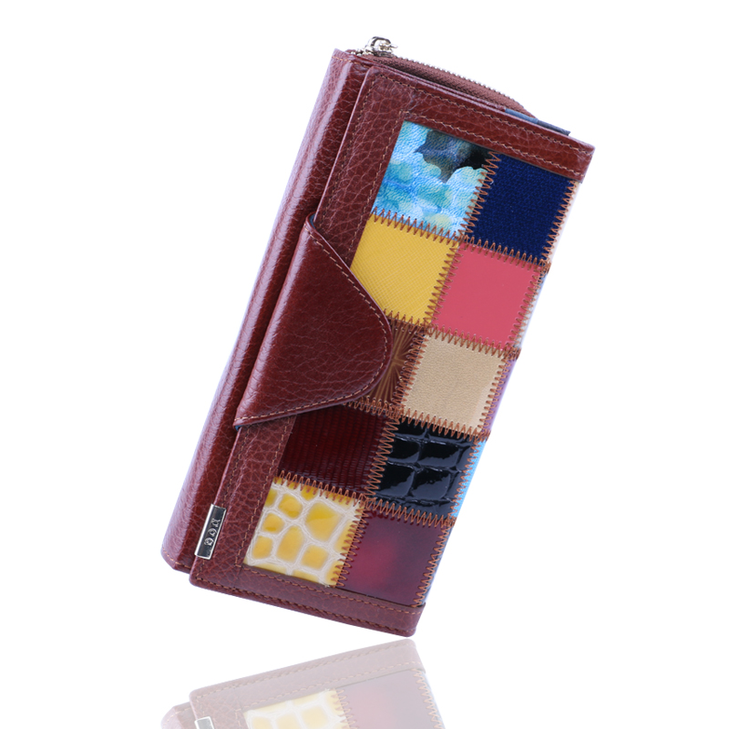 100% Genuine Leather wallets Womens Wallet Clutch Women Purse With Phone Pocket Panelled Patchwork Leather coin Purses Long bag
