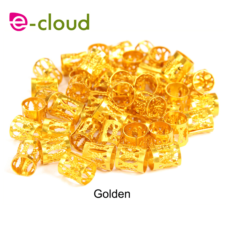 100pcs Gold metal tube ring dreadlock beads for braids hair beads for dreadlocks adjustable hair braid cuff clips
