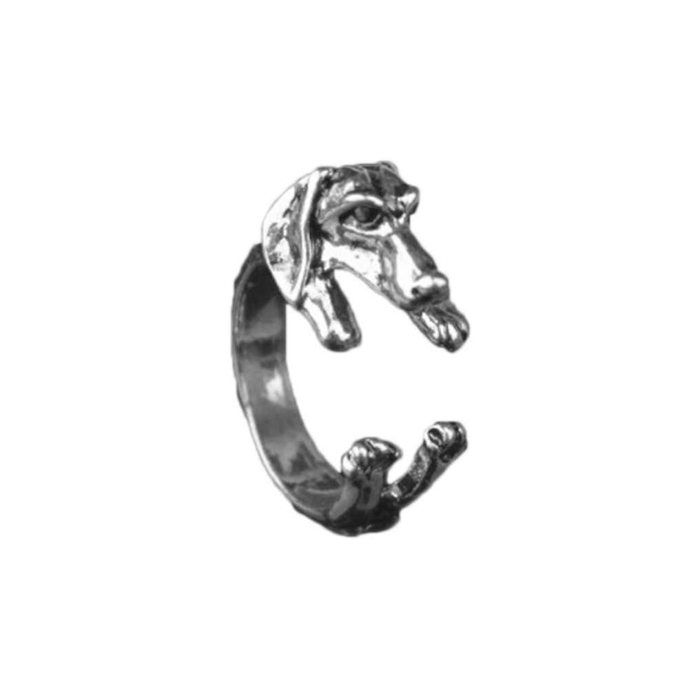 Retro Rings Adjustable Alternate Male And Female Pug Dog Animal Burst With Big Ears Popular Three Color Optional