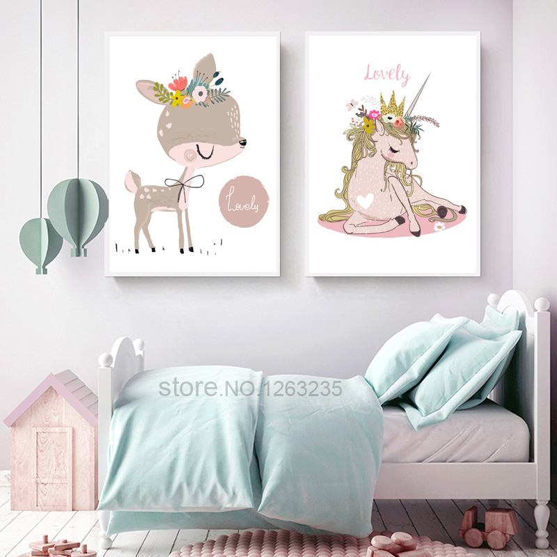 Unicorn Baby Girl Room Decor Nordic Poster Deer Flower Cuadros Wall Art Canvas Painting Wall Pictures For Living Room Unframed