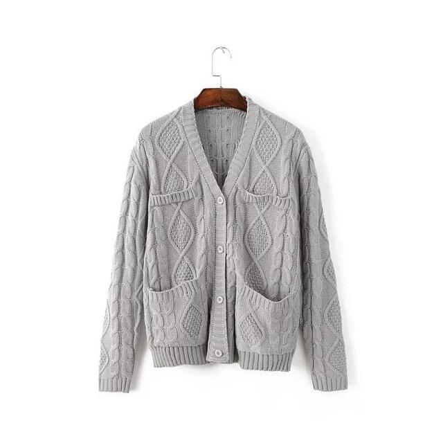 Moda Coreano das Mulheres Camisola Projeto do Bolso Camisola Ocasional ow0402 Jerseis de Mujer Polyster Frente Aberta casaco De Caxemira Das Mulheres