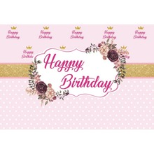 Laeacco Flowers Crown Happy Birthday Baby Children Celebration Scene Photography Backgrounds Photographic Photo Backdrops Studio