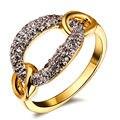 Hot Fashion Women CZ Rings 2 Tones Gold Plated AAA Cubic Zirconia See-Through Binding Design Luxury Wedding Rings