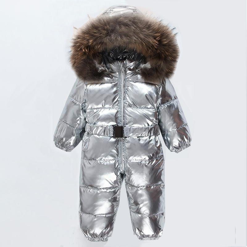 2019 Baby Jumpsuits Boys Girls Winter Overalls Rompers Duck Down Jacket Jumpsuit Natural Fur Children Outerwear Kids Snowsuit