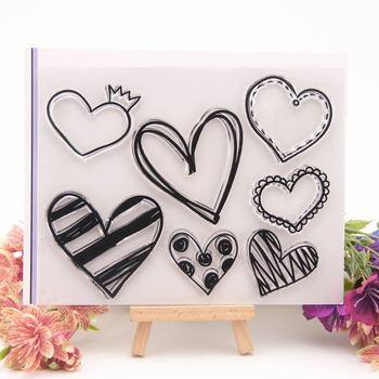 Love Heart Pattern wyczyść pieczątki do papieru Craft Scrapbooking przezroczysty pierścień umowy ręcznie robione prezenty dla dzieci zabawa materiały dekoracyjne tanie i dobre opinie Standardowy znaczek RUBBER Dekoracji