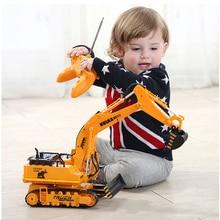 Large 11 Channels RC Excavator RC Car Remote Control Toys Car Electric Excavator Charging Electric Vehicle
