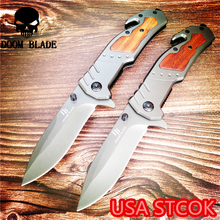 205mm 5CR15MOV Blade Quick Open Knives Folding Knife American Wood Handle Outdoor Camping Multi-purpose Hunting EDC Tool цены