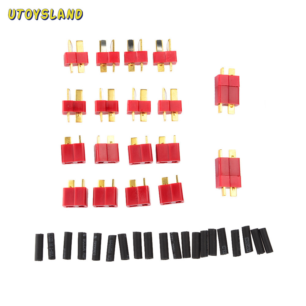 все цены на UTOYSLAND 10 Pairs Ultra T Plug Connectors Deans Style For RC LiPo Battery Male and Female + Shrink Tubing (20-Pack) Set