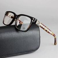 2017 de la moda marca de joyería de plata de cristal de la placa placa de vidrio transparente de color macho marco miope gafas de alta calidad empresarial