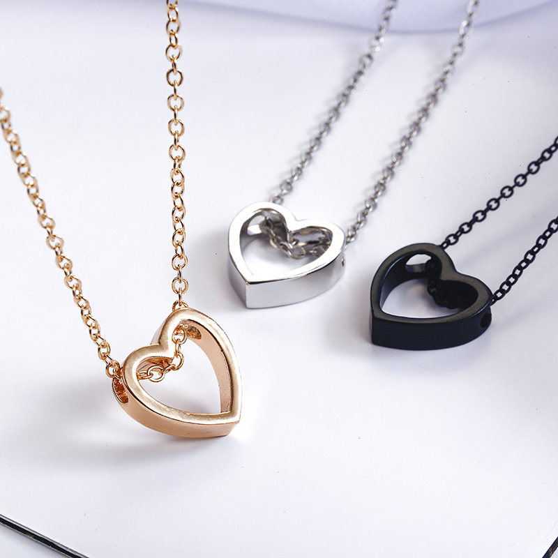 Fashion Design Black Heart Necklace Gold Silver color simple Hollow Jewellery The best of birthday treat