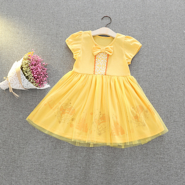Princess Summer Yellow Color Newborn Baby Dress Belle Flower Cosplay Party Ball Gown