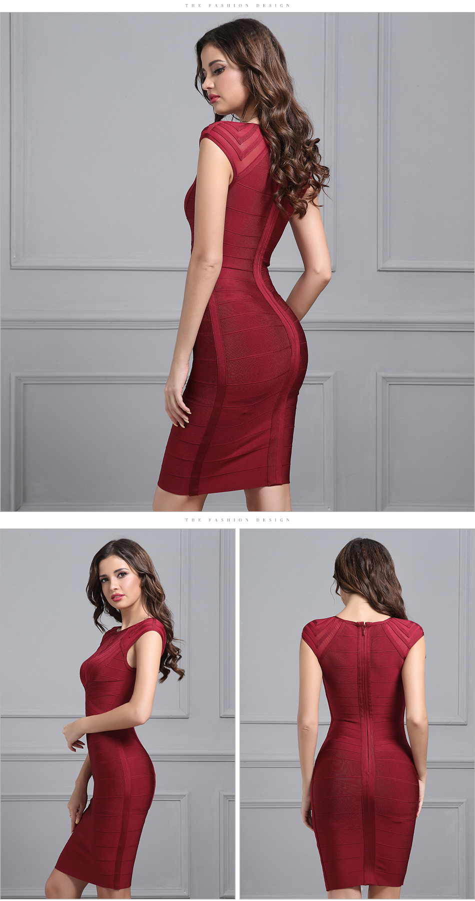 Elegant Black Wine Red O Neck Short Sleeve Mesh Bandage Dress