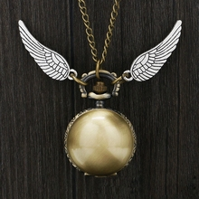 Harri Potter Cosplay Golden Wings Snitch Toy Watch Quartz Pocket Watch Necklace Quidditch Balls Snitch Necklace Toys Fly Thief