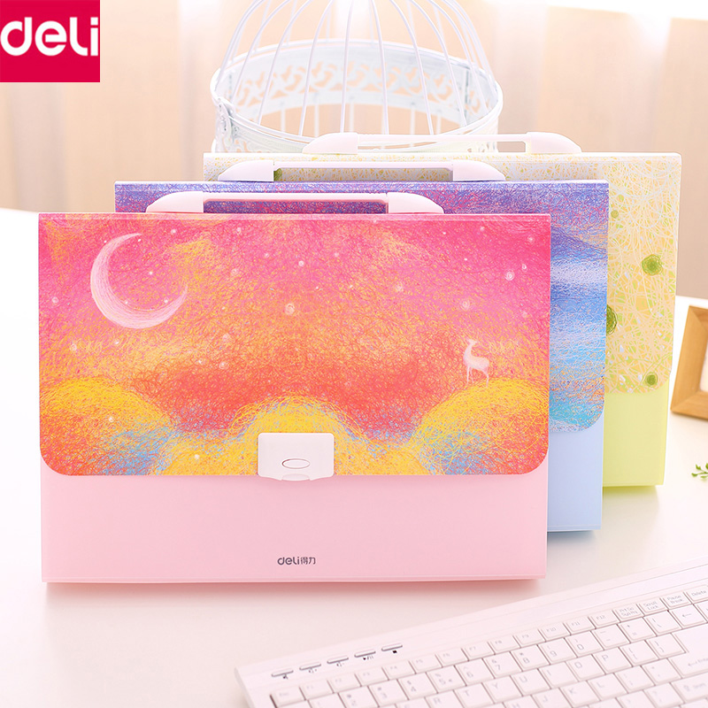 Deli Stationery Cute 13 Pockets A4 Size Expanding File Folder Document Paper Bag Expanding Wallet Bag Office School Supplies deli a4 folder 8 grids portable multi layer paper bag information package expanding wallet document bag school office supplies