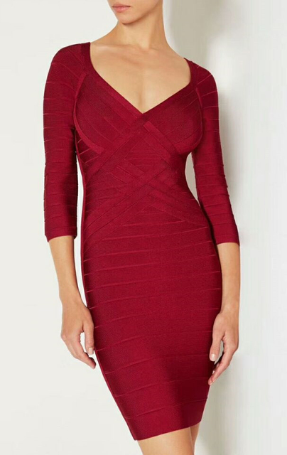 9f7df6f89a4c4 US $33.6 30% OFF|Aliexpress.com : Buy Free Shipping High Quality Long  Sleeve Bandage Dress Red Color Strips Sexy V Neck Elastics Stretch Bodycon  Dress ...