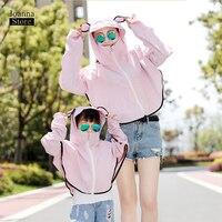 Two pieces set Cloak coat Parent child sun protection cape coats casual hooded solid color top quality women tide summer clothes