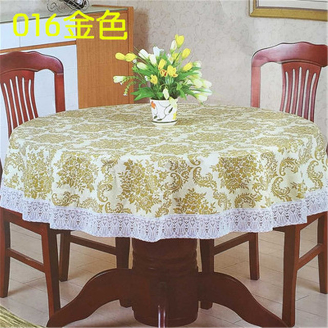 1Pcs New Rural Style Thickening Lace Printing Tablecloth PVC Round  Tablecloth Round Table Cloth Waterproof And