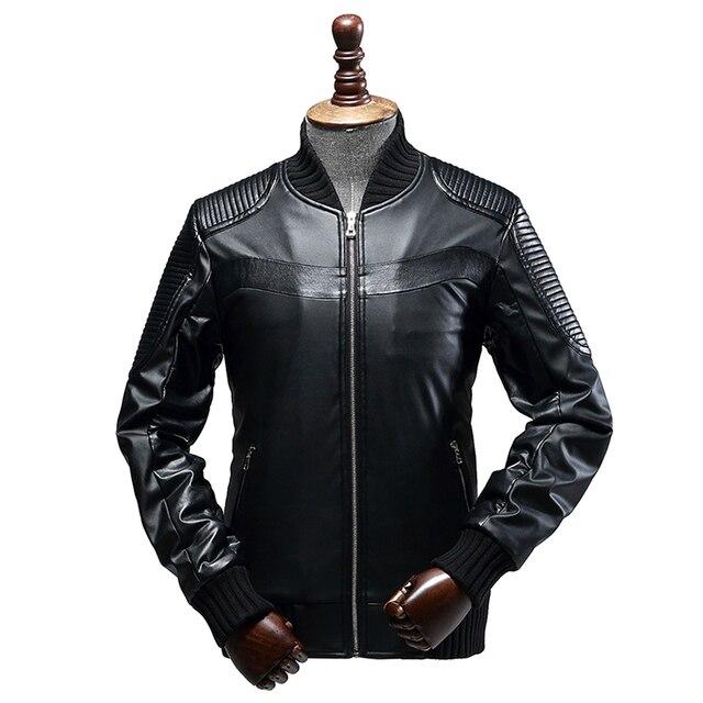 JACK CORDEE New Jacket Windbreaker Male Leather Jacket Motorcycle Mandarin Collar Bomber Jacket PU Waterproof Jacket Men Coat